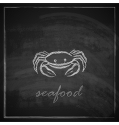 Vintage with a crab on blackboard background vector