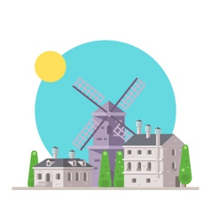 Flat design of europe village with windmill vector