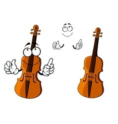 Cartoon smiling brown violin character vector