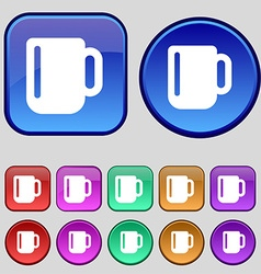 Cup coffee or tea icon sign a set of twelve vector
