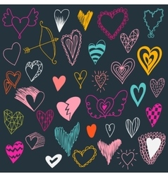 Set of hand drawn hearts valentine hearts for vector