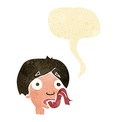 Cartoon head sticking out tongue with speech vector