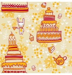 Seamless cake pattern with rabbit vector