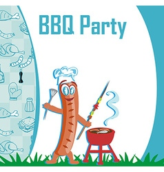 Cheerful sausage - funny invitation vector