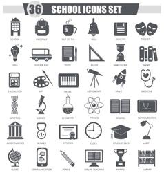 School black icon set Dark grey classic vector image