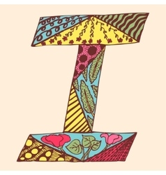 Vintage monogram i doodle colorful alphabet vector