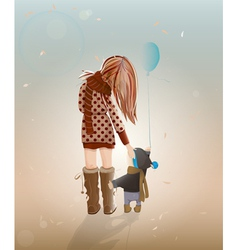 Young Mother with a Child Walking vector image
