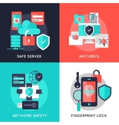 Data Protection Flat Compositions vector image