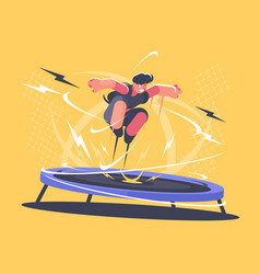 athlete jumping on trampoline vector image vector image