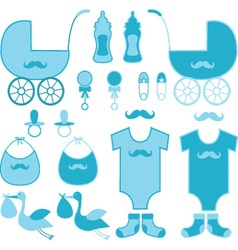Baby shower boy elements baby announcement vector