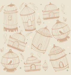 bird and cages pattern design vector image