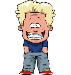 boy with braces vector image vector image