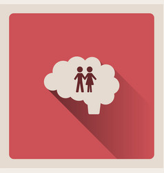 brain thinking of the couple on red background vector image