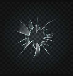 broken window hole transparent glass vector image vector image