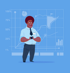 Business man over finance chart graph background vector