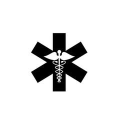 caduceus solid icon medicine and health sign vector image