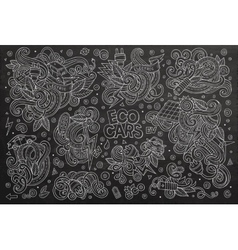Chalkboard doodle cartoon set of electric vector