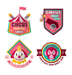 Circus logo labels in colors isolated on white vector