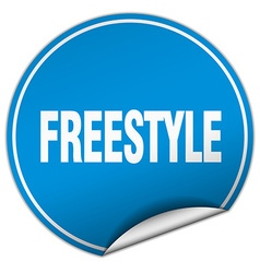 Freestyle round blue sticker isolated on white vector