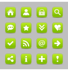 Green satin icon web button with white basic sign vector