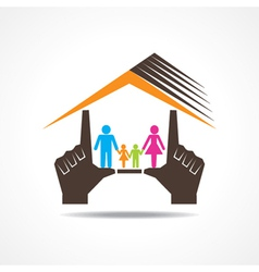 Hand make home with family vector image