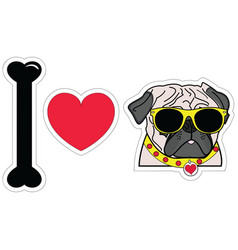 I love pugs with hipsters glasses and collar vector