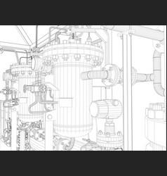 industrial equipment wire-frame render vector image vector image