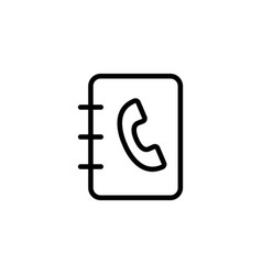 line phonebook icon on white background vector image vector image