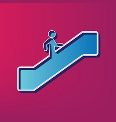 Man on moving staircase going up blue 3d vector
