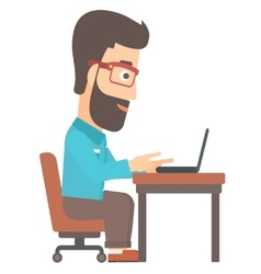 Man working at laptop vector image