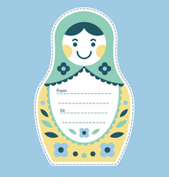 matryoshka russian nesting doll gift tag or card vector image vector image
