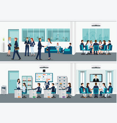 modern office interior room with office desk vector image