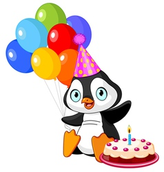 Penguin celebrates birthday vector
