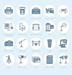 Photography equipment flat line icons digital vector