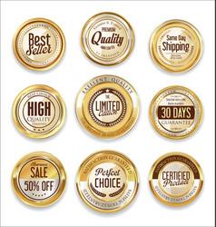 sale retro vintage golden badges and labels 07 vector image vector image