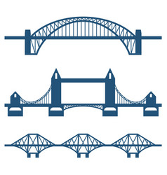 Set of flat bridge icons isolated on white vector