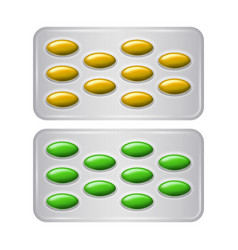 Set of package of pills group of realistic yellow vector