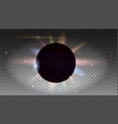 Solar eclipse astronomical phenomenon light rays vector