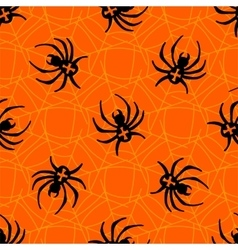 Spiders on Webs seamless pattern vector image