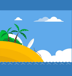sunny tropical beach with surfboard vector image vector image
