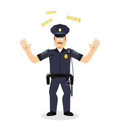 Surprised policeman loquitur oops perplexed cop vector