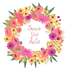 Vintage card with floral wreath Save the date vector image vector image