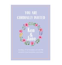 Wedding invitation floral ring purple colour backg vector