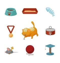 Domestic cat cartoon icons set vector