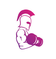 Strong spartan athlete with dumbbell isolated on vector