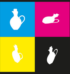 amphora sign   white icon with vector image