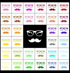 mustache and glasses sign  felt-pen 33 vector image