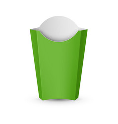 Empty green packaging for french fries fast food vector
