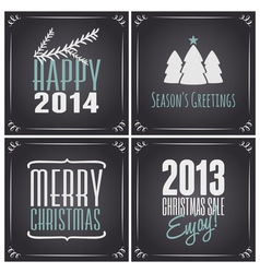 Chalkboard style christmas greeting cards set vector