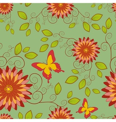 Seamless pattern with flower and butterfly vector